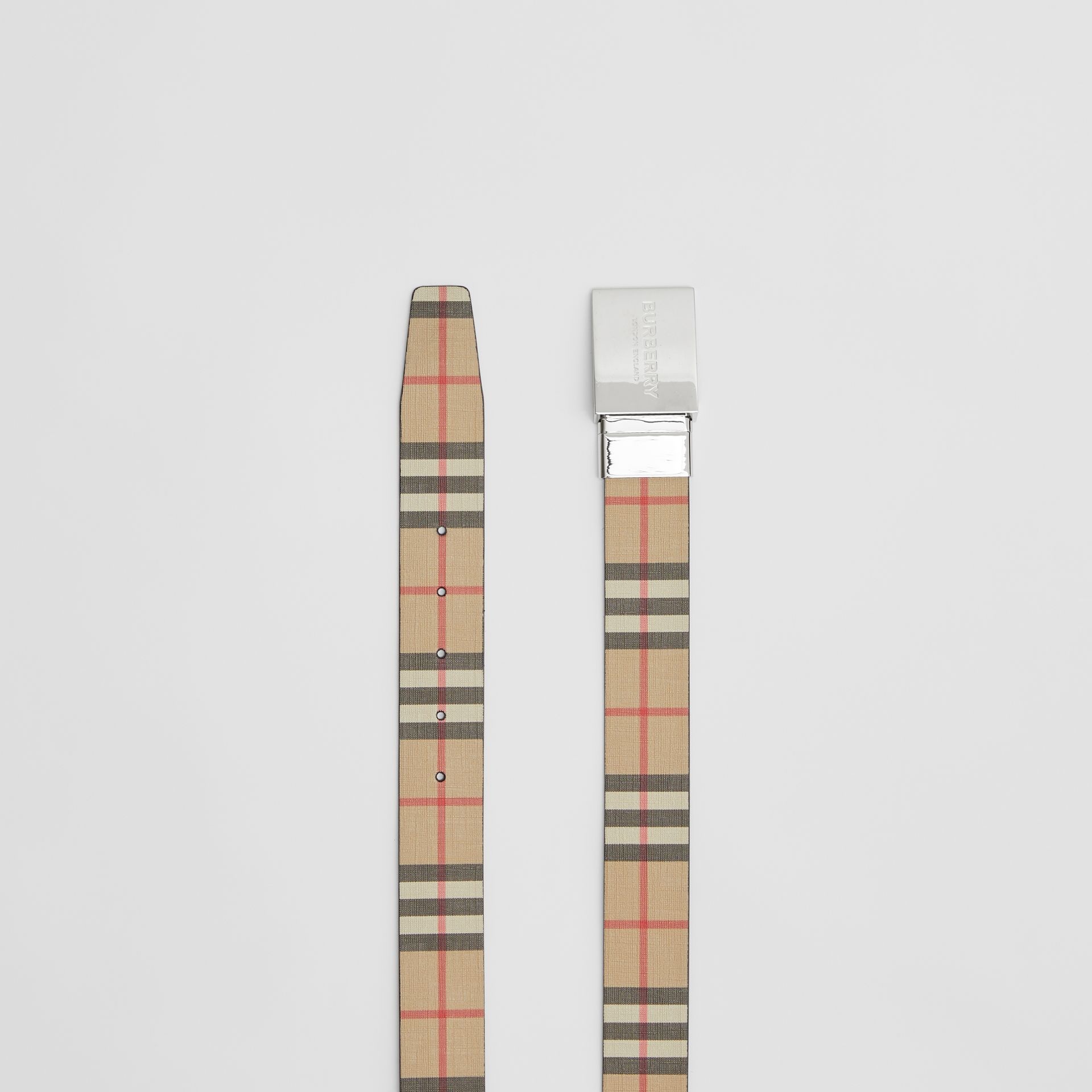 Reversible Plaque Buckle Vintage Check E-canvas Belt in Archive Beige - Men | Burberry Australia - gallery image 6