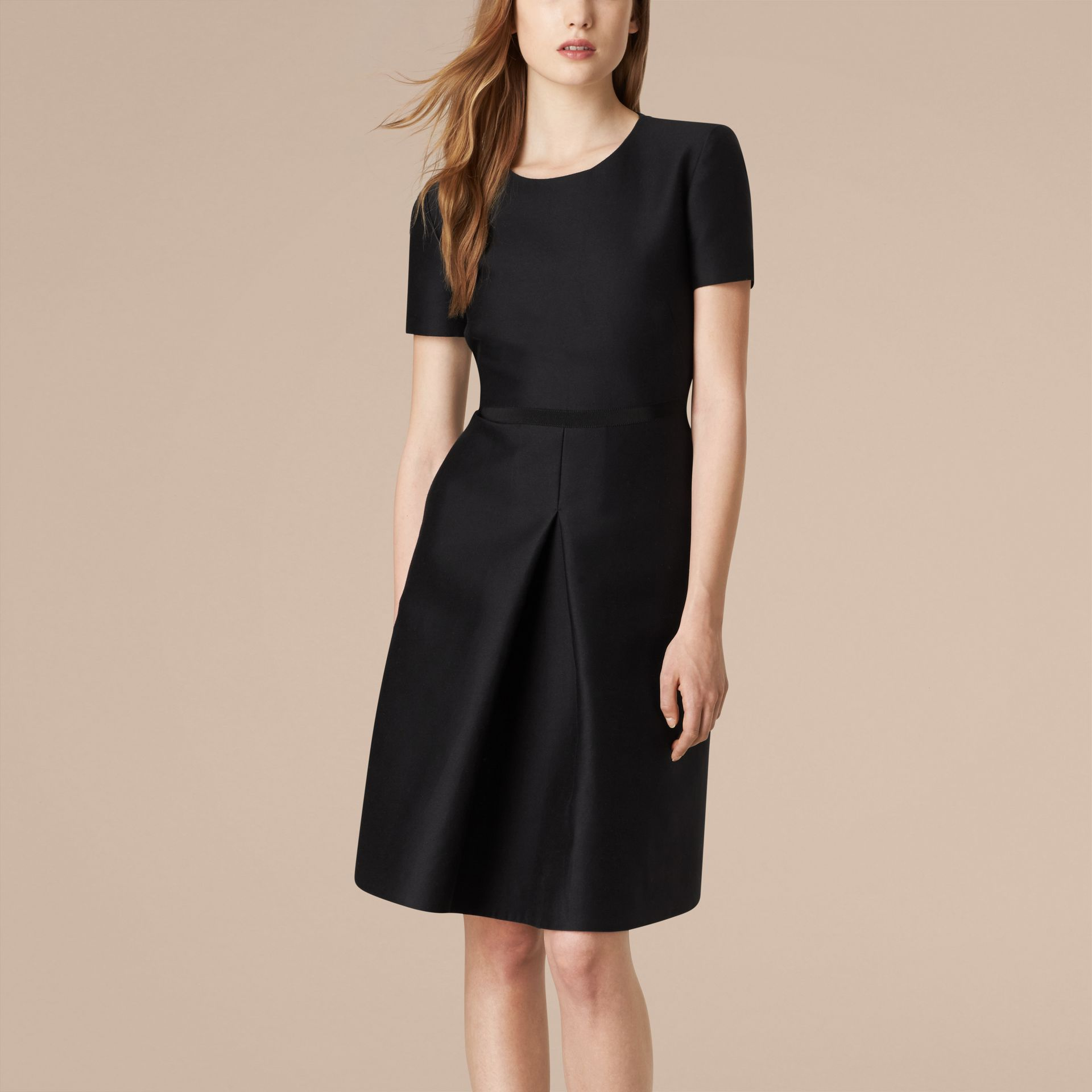 Black Sculptural Cotton Silk Dress - gallery image 1