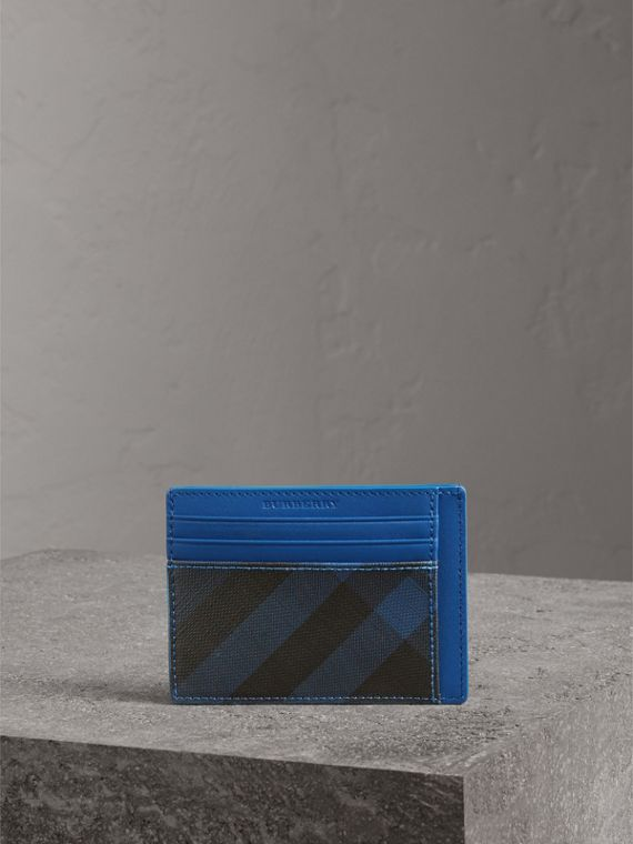 London Check and Leather Card Case in Navy/ Blue - Men | Burberry - cell image 3