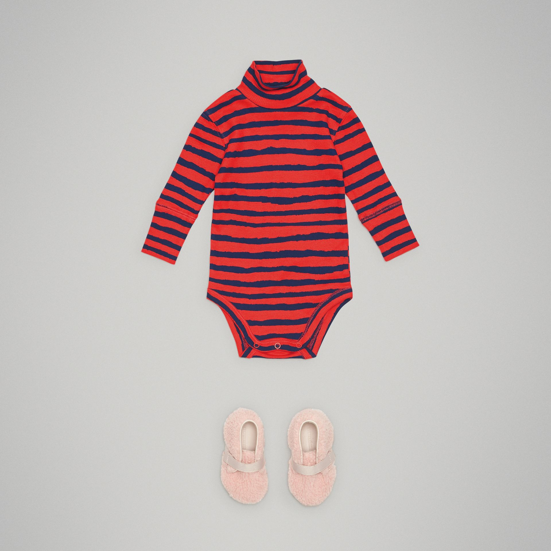 Roll-neck Striped Cotton Bodysuit in Orange Red - Children | Burberry - gallery image 2