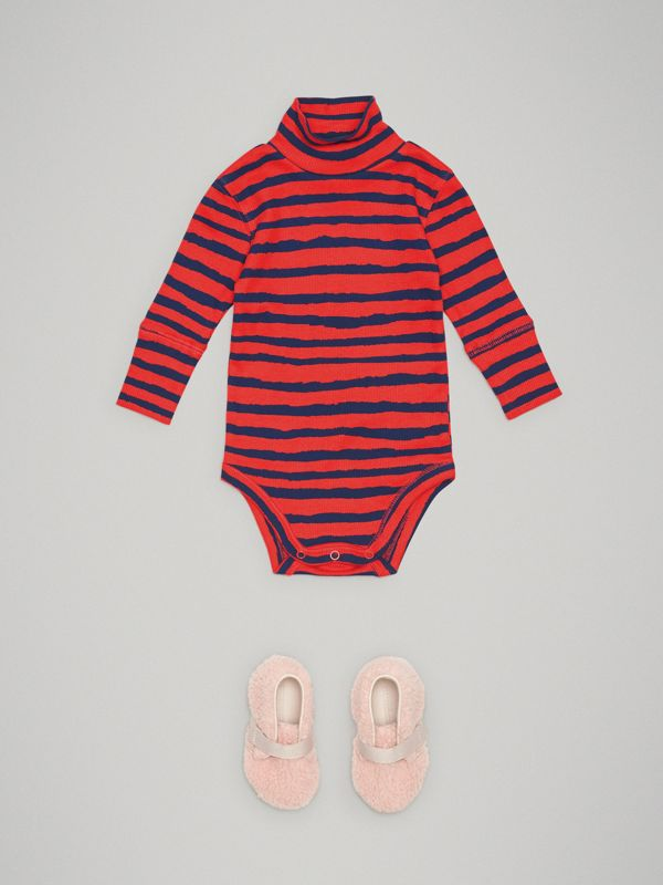 Roll-neck Striped Cotton Bodysuit in Orange Red - Children | Burberry - cell image 2