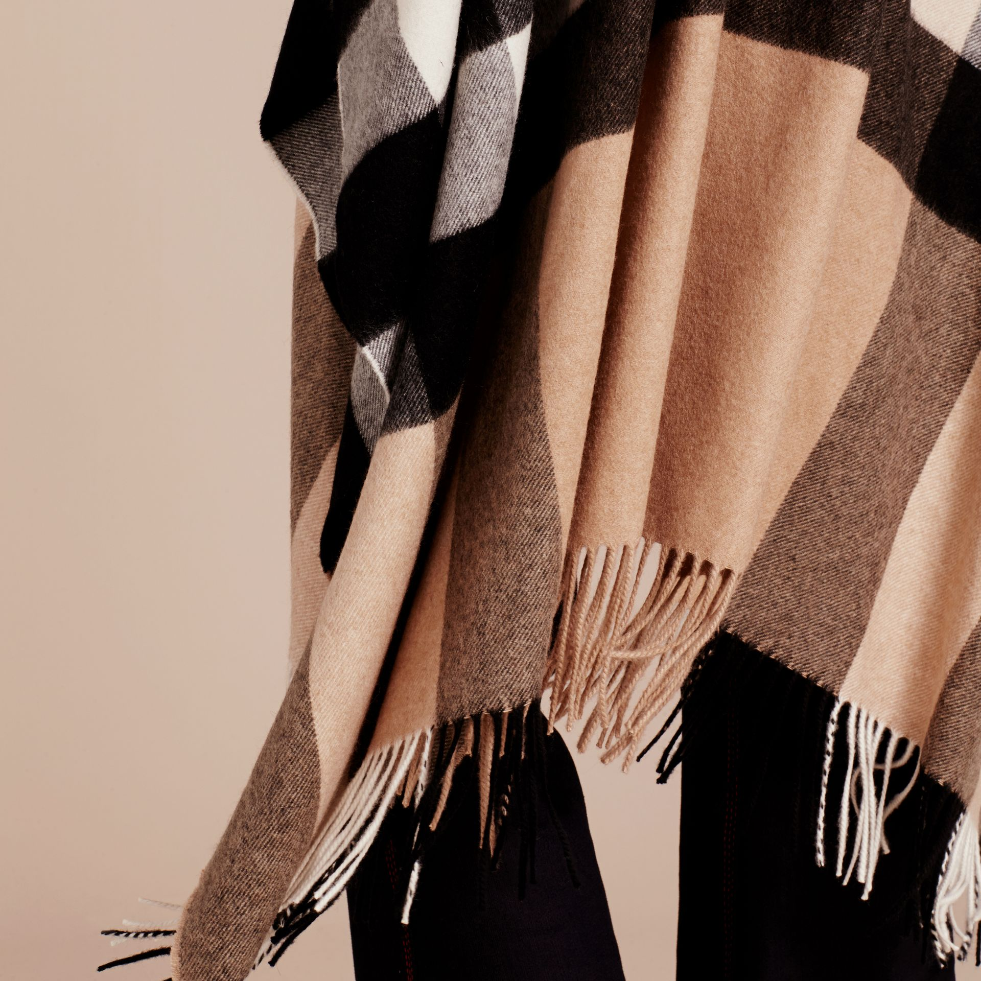 Camel Check Cashmere Poncho - gallery image 6