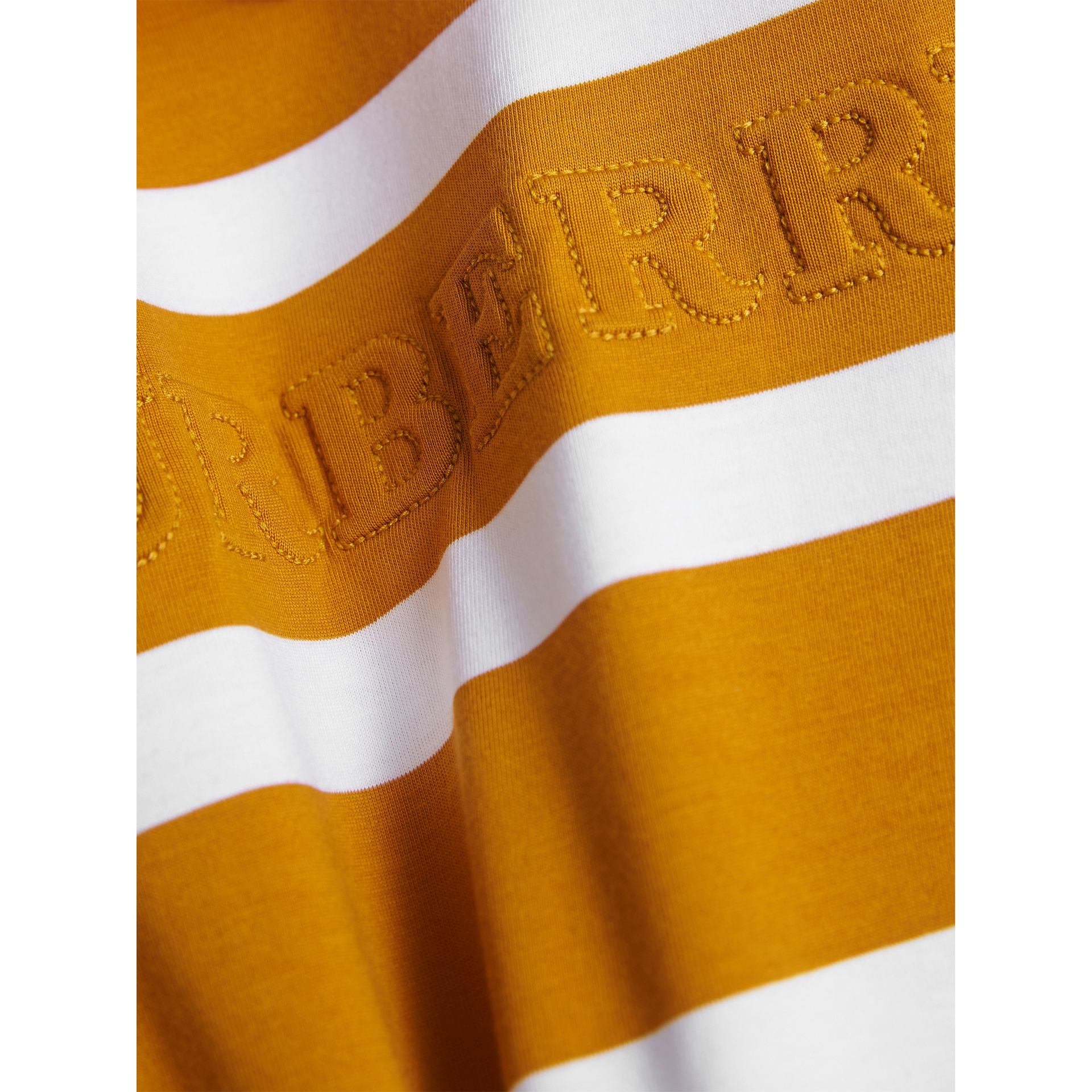 Long-sleeve Striped Cotton T-shirt in Ochre Yellow/white - Boy | Burberry Australia - gallery image 2
