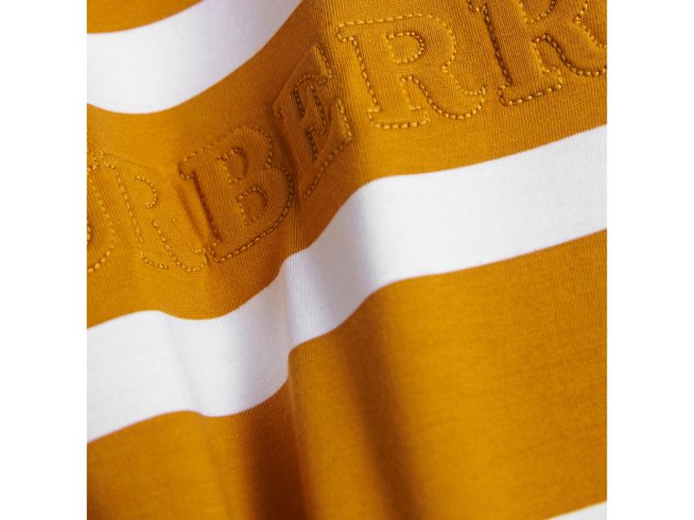 Long-sleeve Striped Cotton T-shirt in Ochre Yellow/white - Boy | Burberry - cell image 1