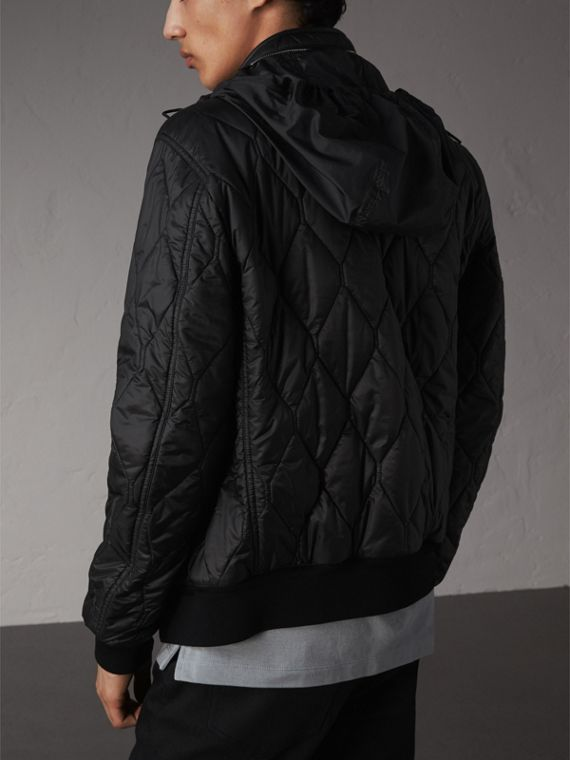 Stand-collar Military-quilted Jacket with Packaway Hood in Black - Men | Burberry Australia - cell image 2