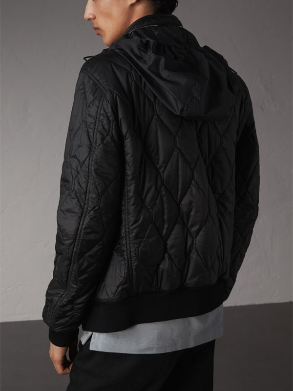 Stand-collar Military-quilted Jacket with Packaway Hood in Black - Men | Burberry - cell image 2