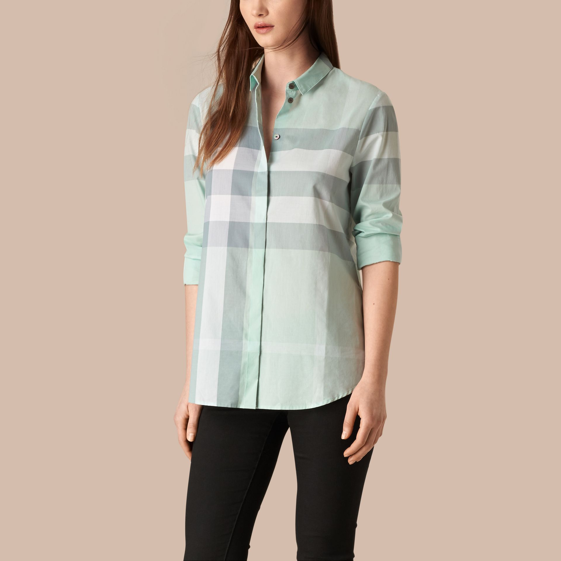 Powder blue Check Cotton Shirt Powder Blue - gallery image 1