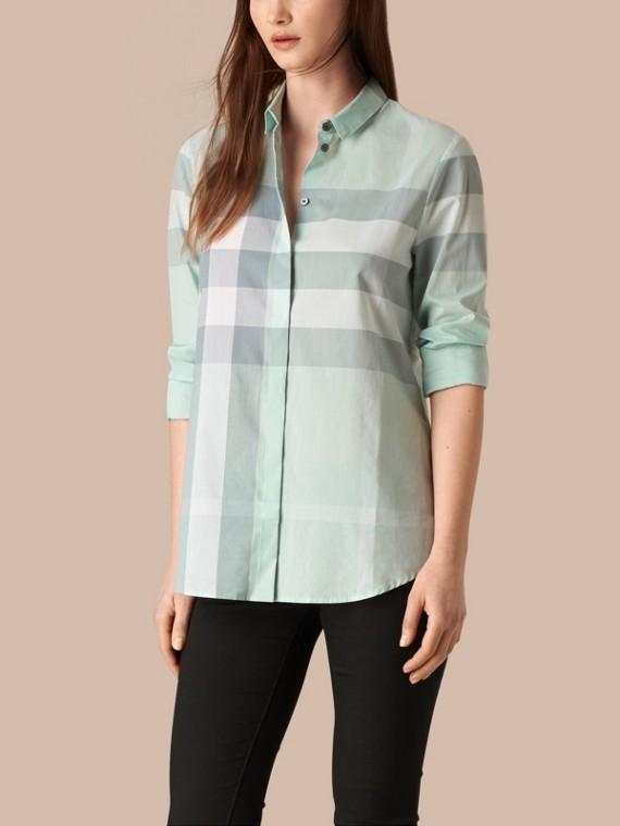 格紋棉質襯衫 蜜粉藍