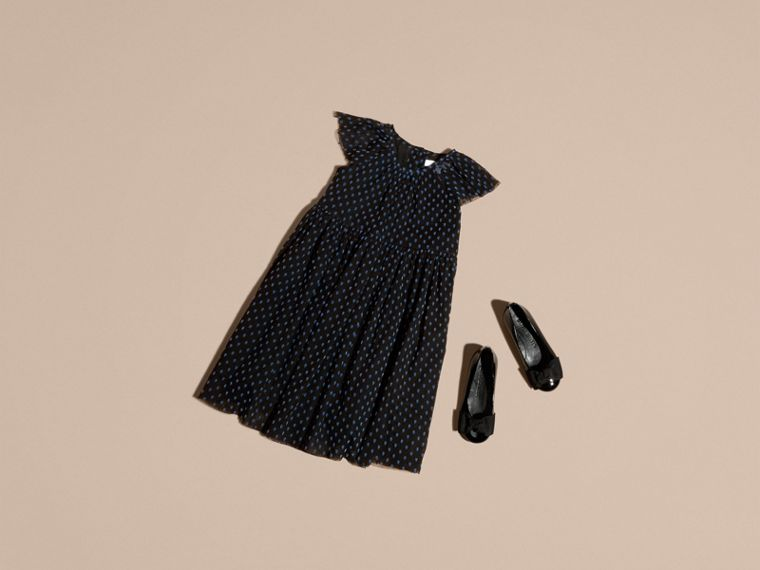Black Flocked Cotton Tulle Dress - cell image 4
