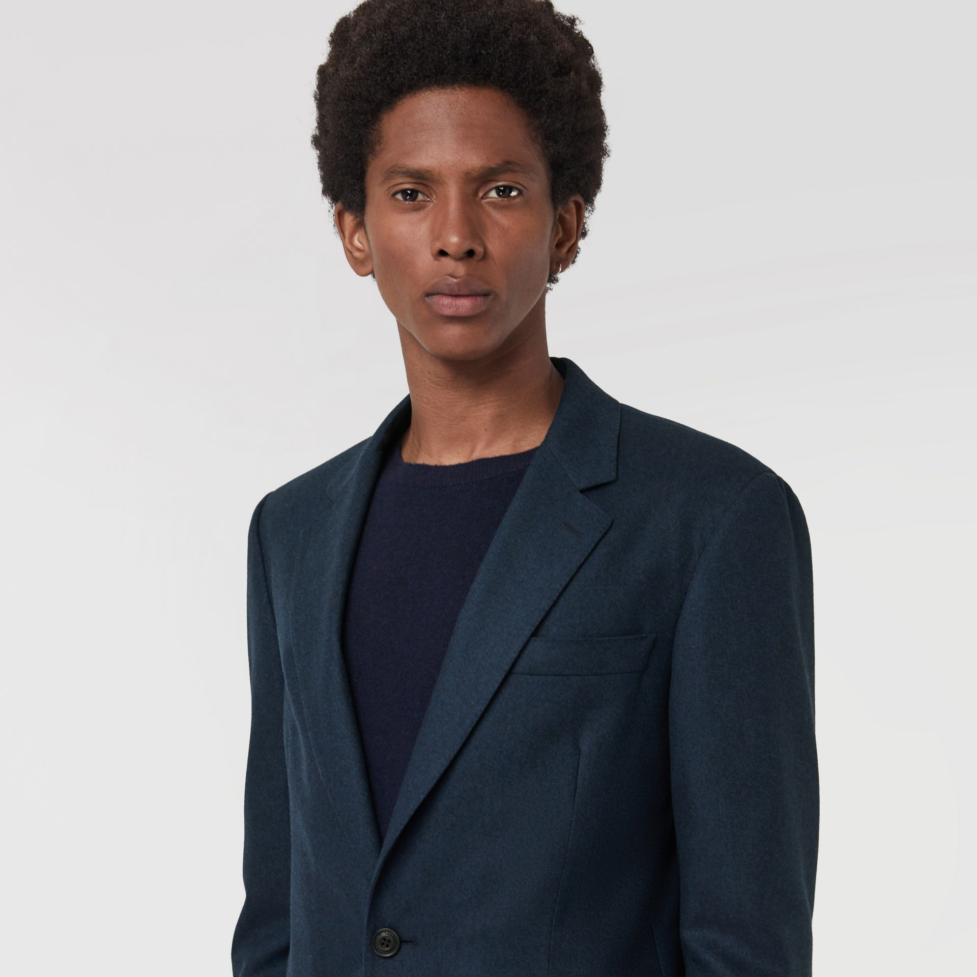 Modern Fit Wool Cashmere Tailored Jacket in Dark Teal - Men | Burberry United Kingdom - gallery image 1