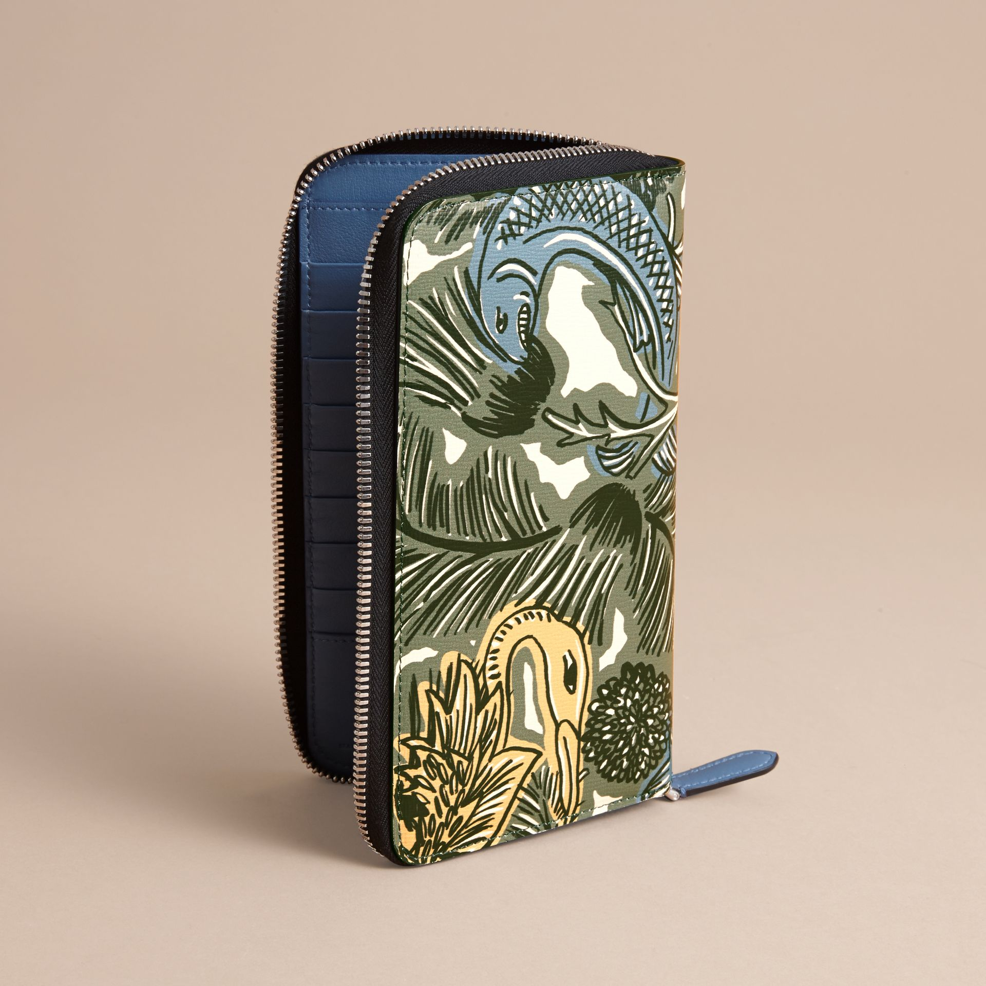 Beasts Print Leather Ziparound Wallet in Sage Green - Men | Burberry - gallery image 4