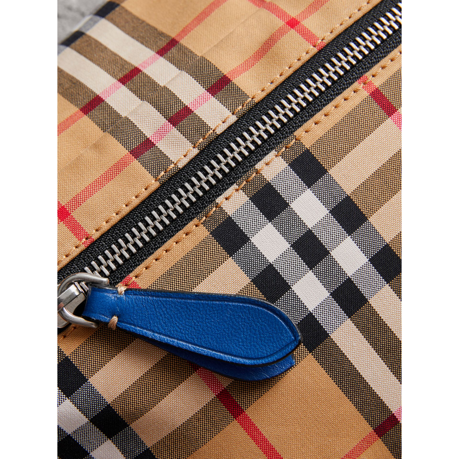 Medium Vintage Check Bum Bag in Canvas Blue | Burberry - gallery image 1