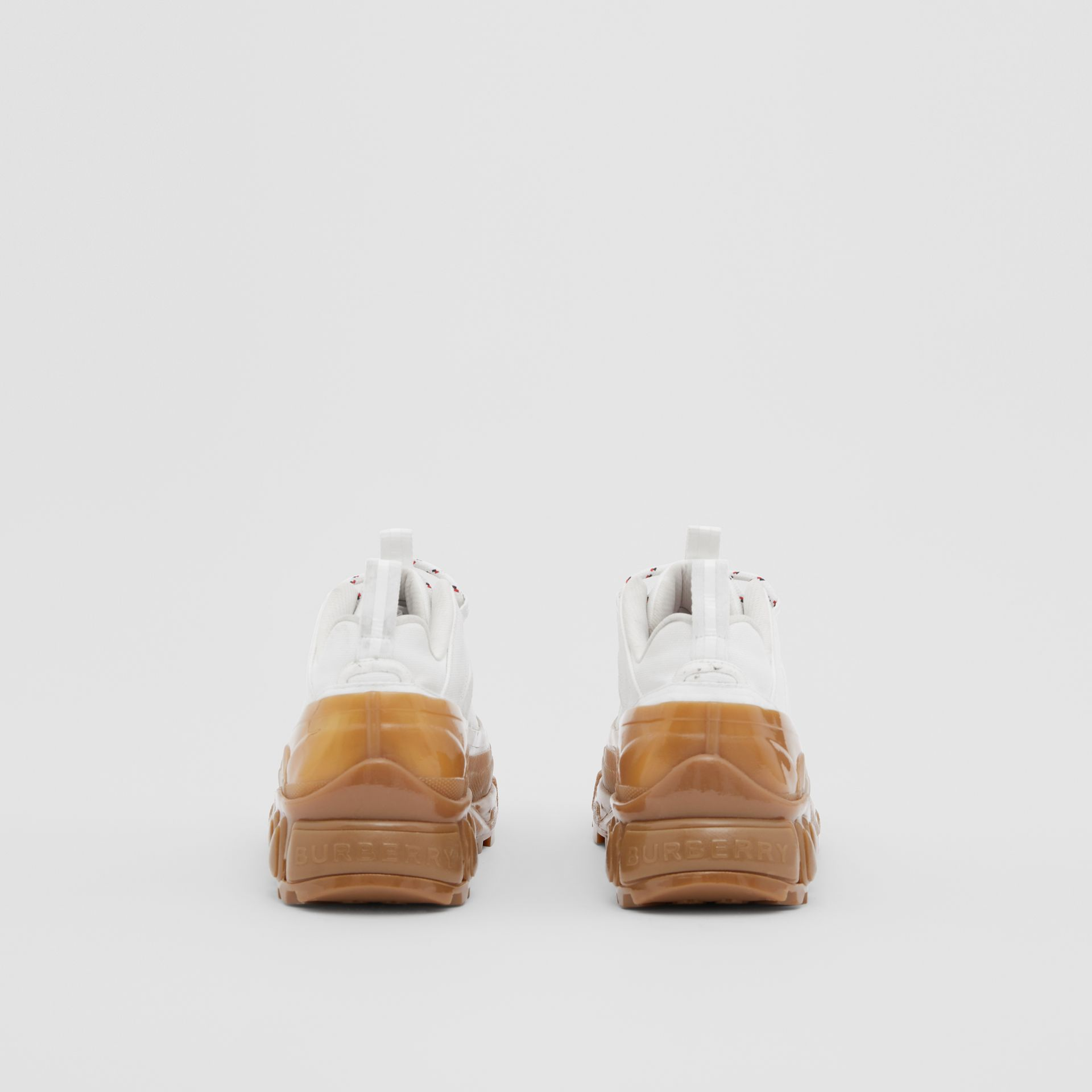 Cotton and Suede Arthur Sneakers in White/amber - Women | Burberry United Kingdom - gallery image 4