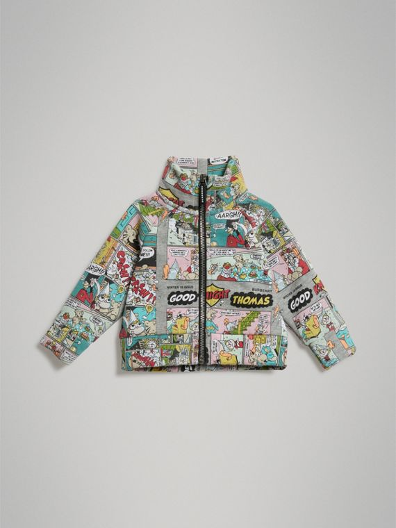 Comic Strip Print Cotton Jacket in Multicolour