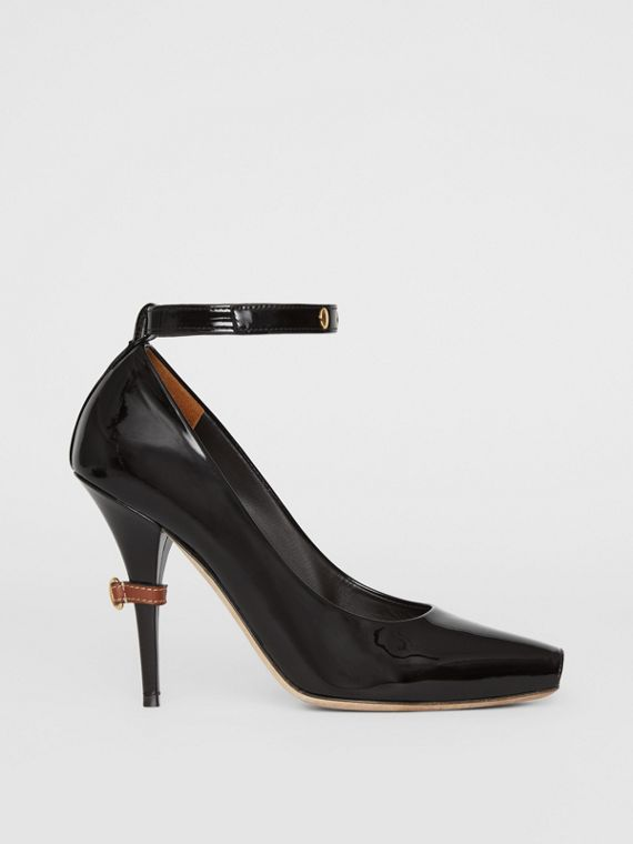 D-ring Detail Patent Leather Peep-toe Pumps in Coffee