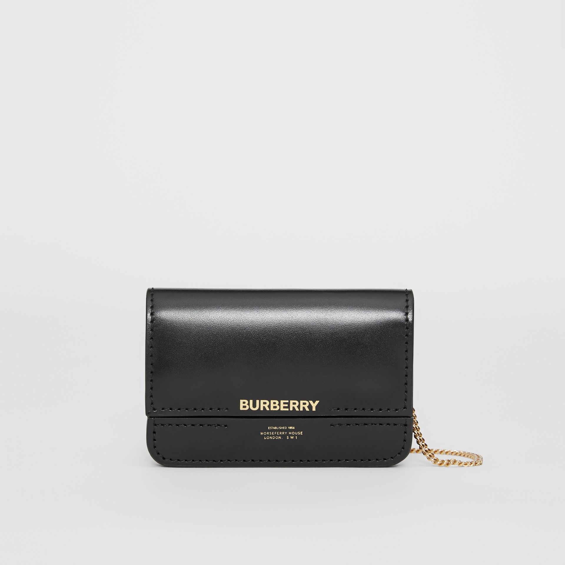 Horseferry Print Card Case with Detachable Strap in Black | Burberry - gallery image 0