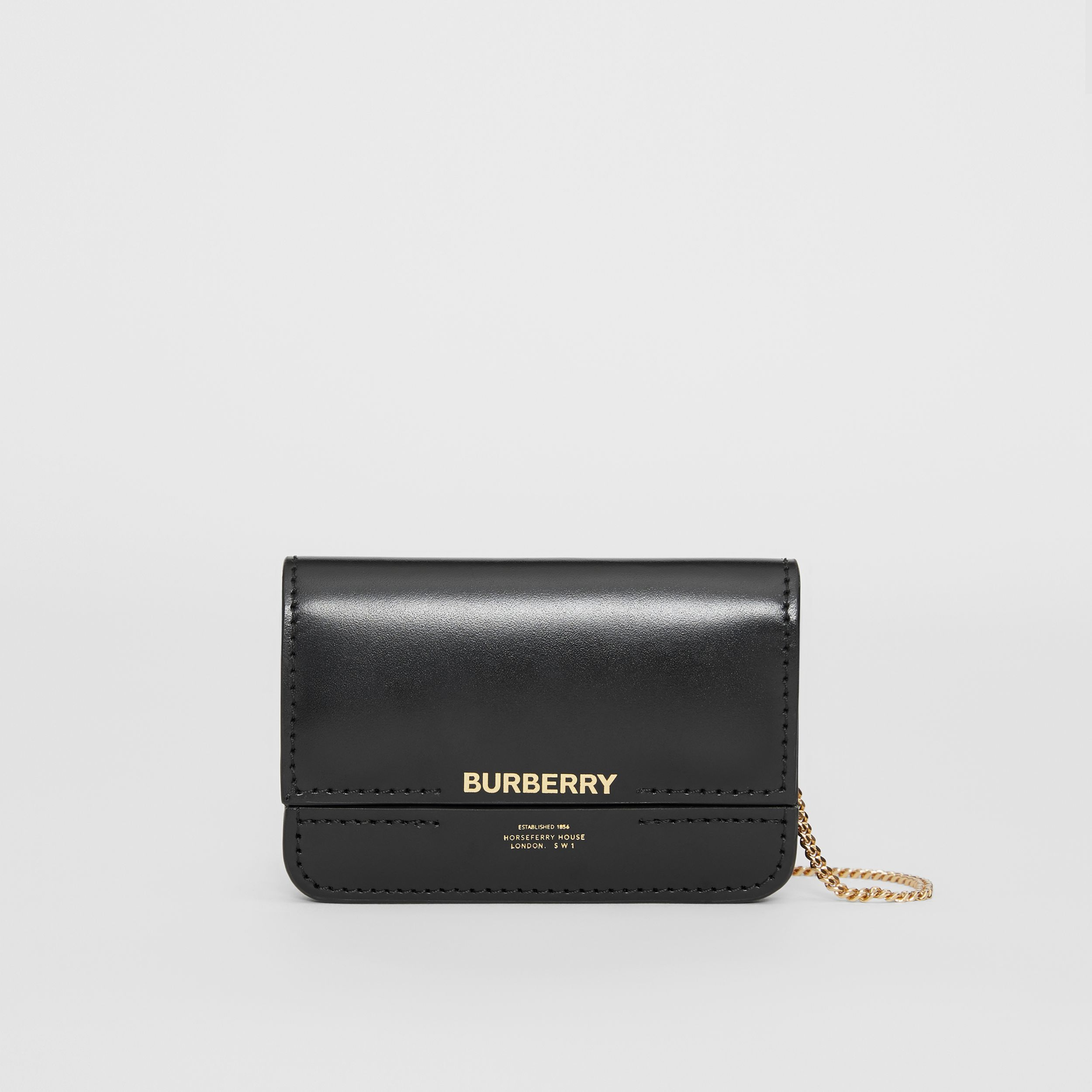 Horseferry Print Card Case with Detachable Strap in Black | Burberry - 1