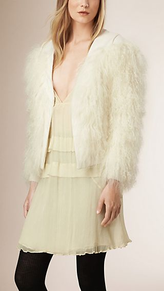 Shearling Detail Virgin Wool Cashmere Jacket
