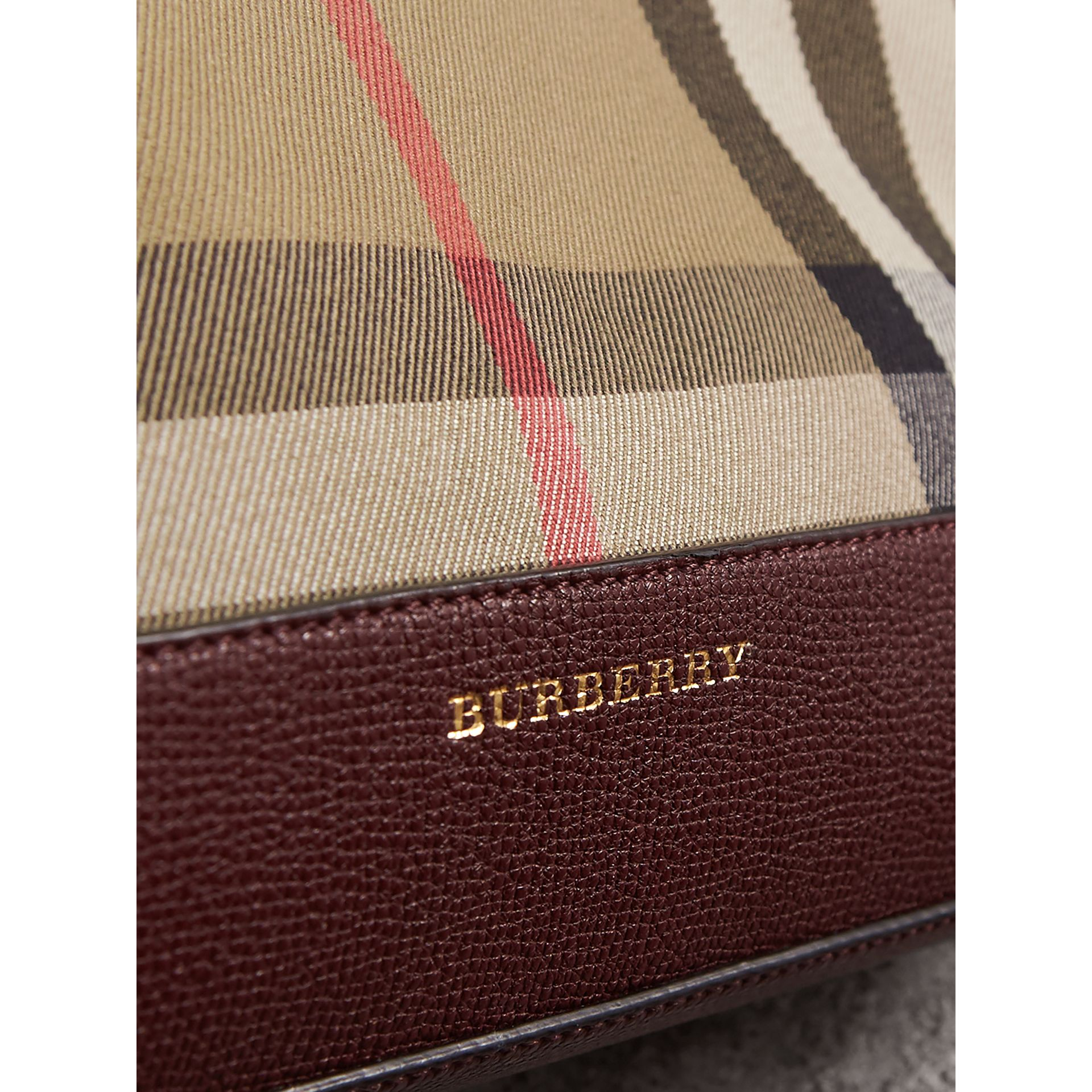 House Check and Leather Clutch Bag in Mahogany Red - Women | Burberry Canada - gallery image 2