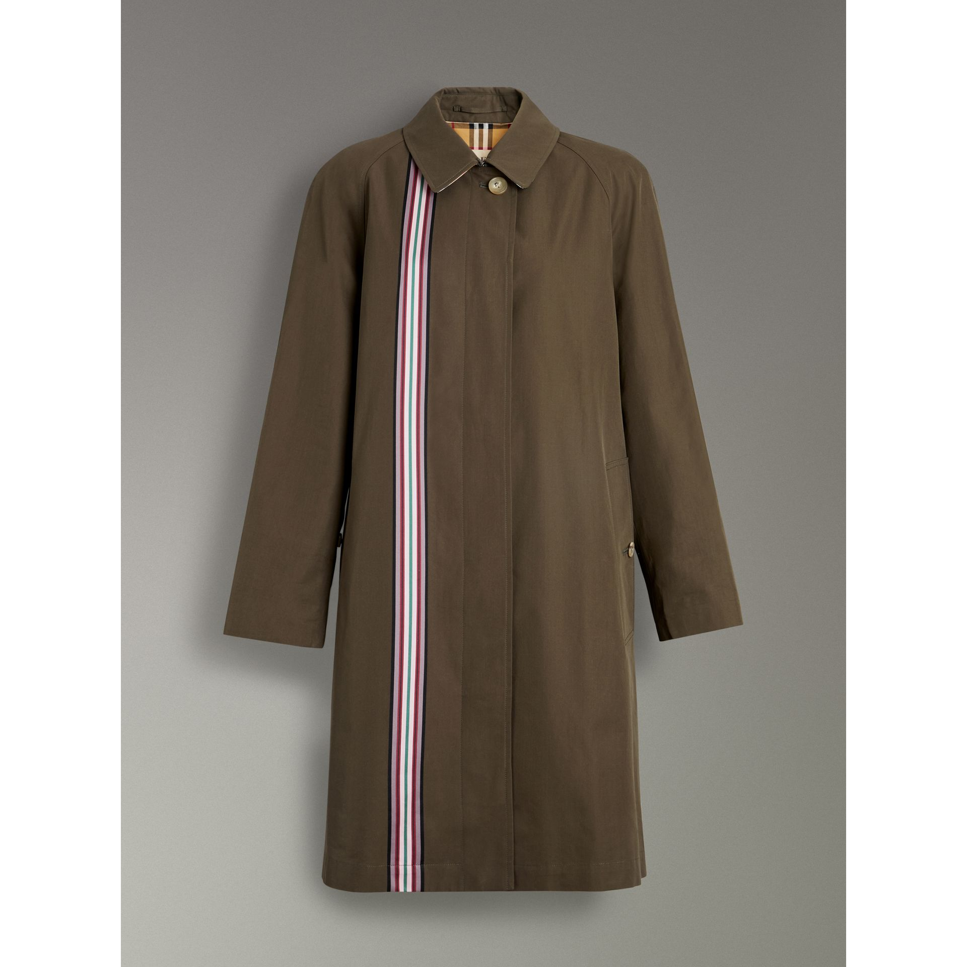 Striped Ribbon Cotton Gabardine Car Coat in Olive - Women | Burberry - gallery image 3