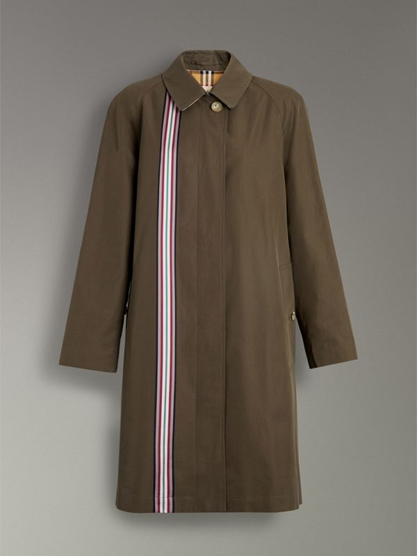Striped Ribbon Cotton Gabardine Car Coat in Olive - Women | Burberry - cell image 3