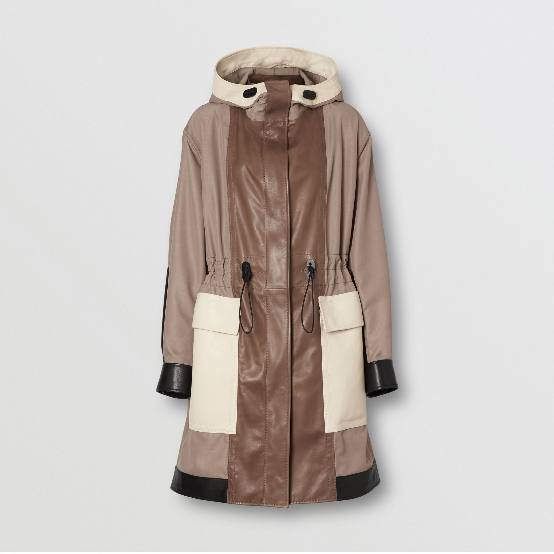 Leather Panelled Nylon Hooded Parka in Warm Taupe - Women | Burberry - gallery image 3