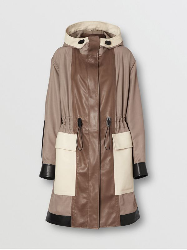 Leather Panelled Nylon Hooded Parka in Warm Taupe - Women | Burberry - cell image 3