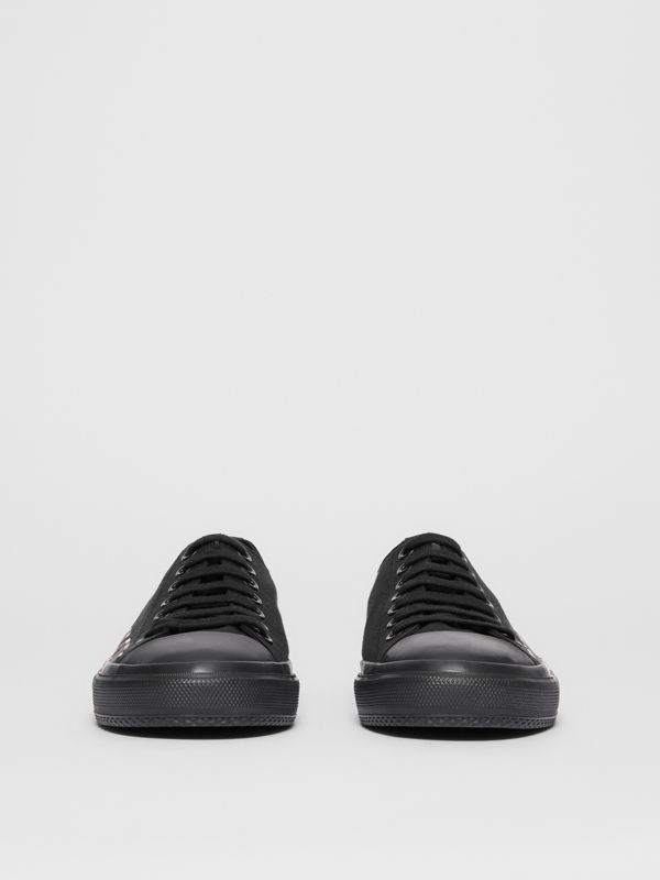 Vintage Check Logo Print Cotton Gabardine Sneakers in Black/archive Beige - Men | Burberry - cell image 3