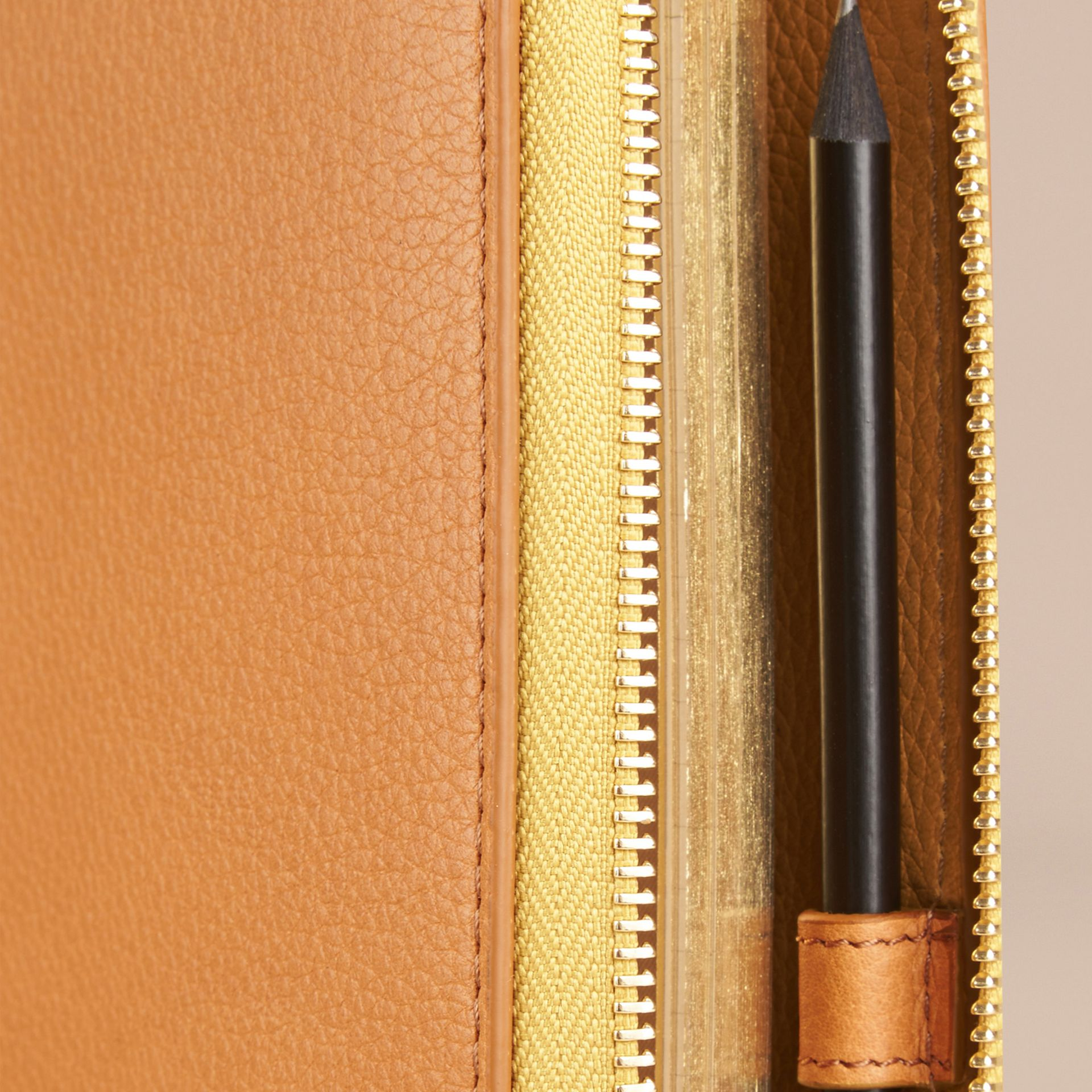 Ziparound Grainy Leather A5 Notebook in Ochre Yellow | Burberry - gallery image 2