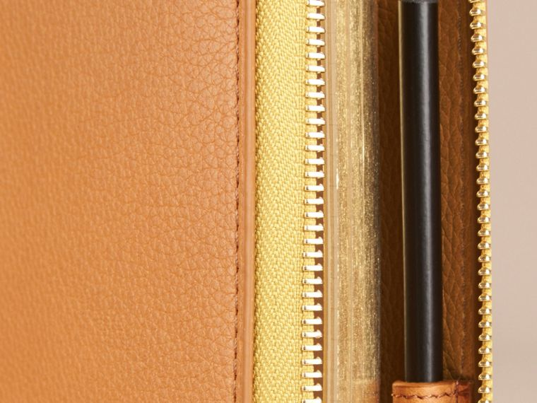 Ziparound Grainy Leather A5 Notebook in Ochre Yellow | Burberry - cell image 1