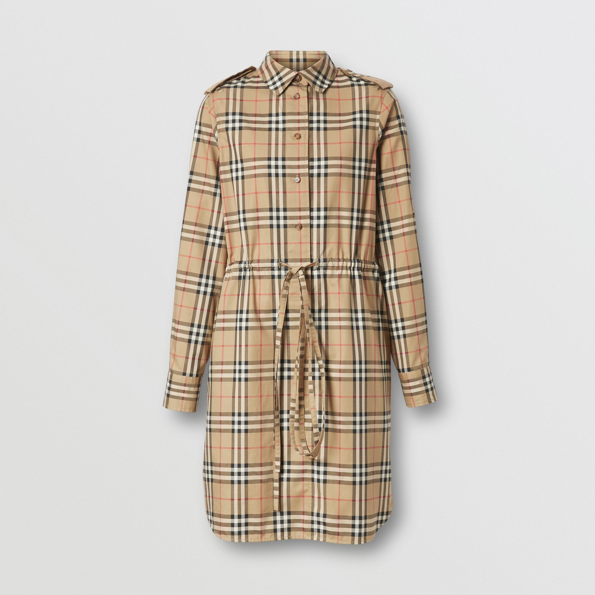 Vintage Check Stretch Cotton Drawcord Shirt Dress in Archive Beige - Women | Burberry - gallery image 3