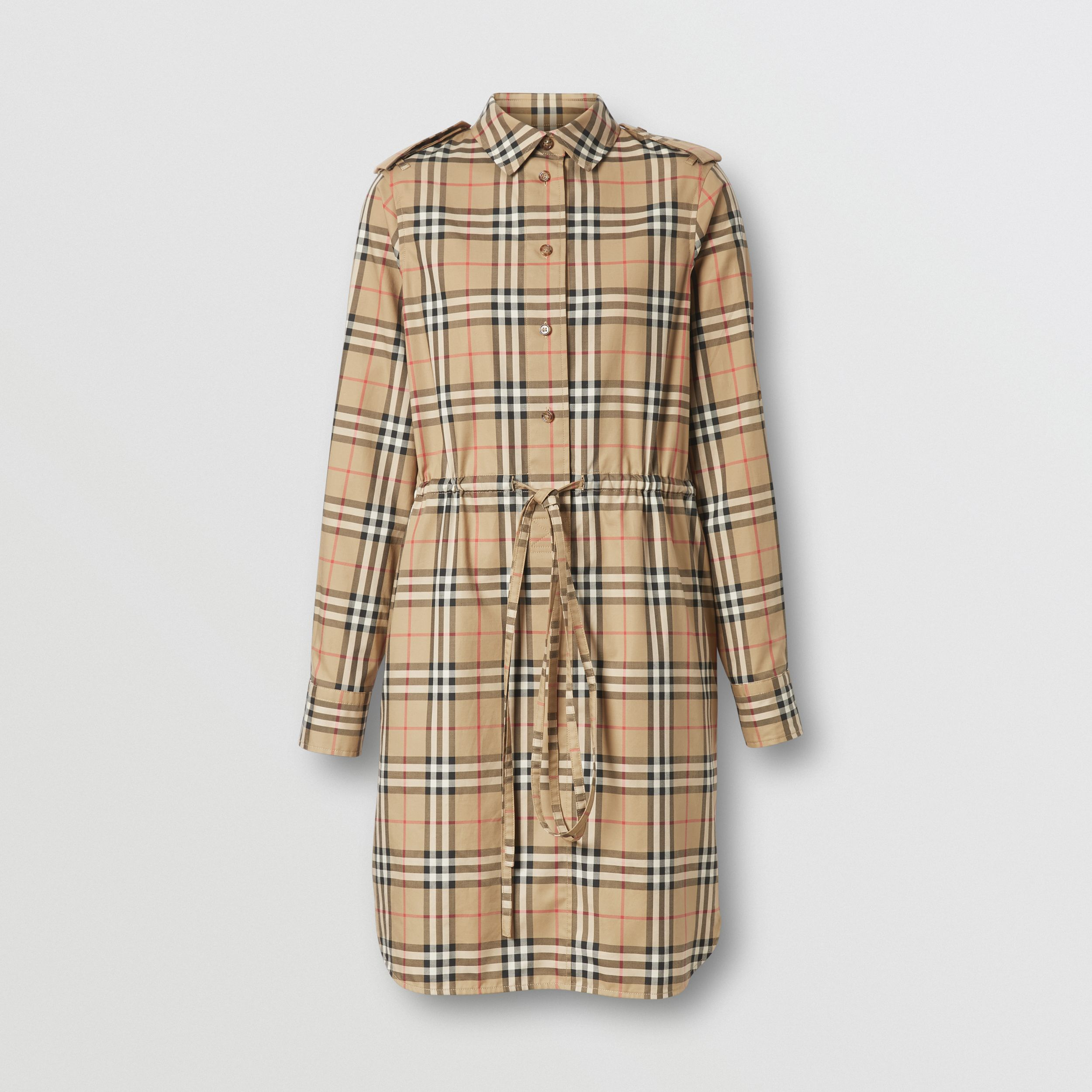 Vintage Check Stretch Cotton Drawcord Shirt Dress in Archive Beige - Women | Burberry - 4