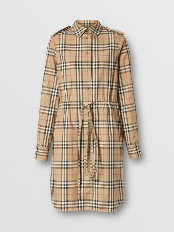 Vintage Check Stretch Cotton Drawcord Shirt Dress in Archive Beige - Women | Burberry - cell image 3