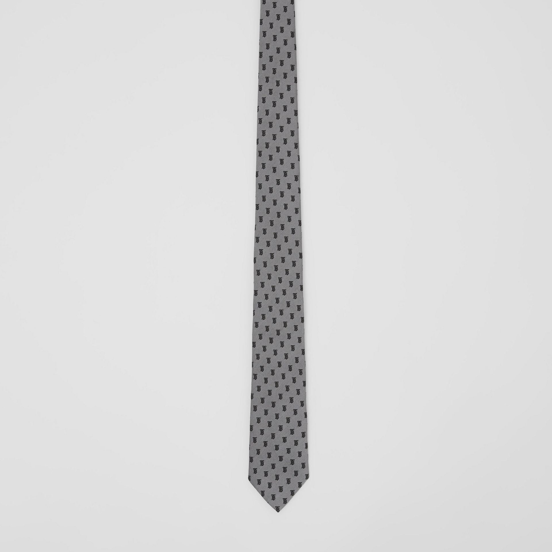 Classic Cut Monogram Silk Jacquard Tie in Mid Grey - Men | Burberry - gallery image 3