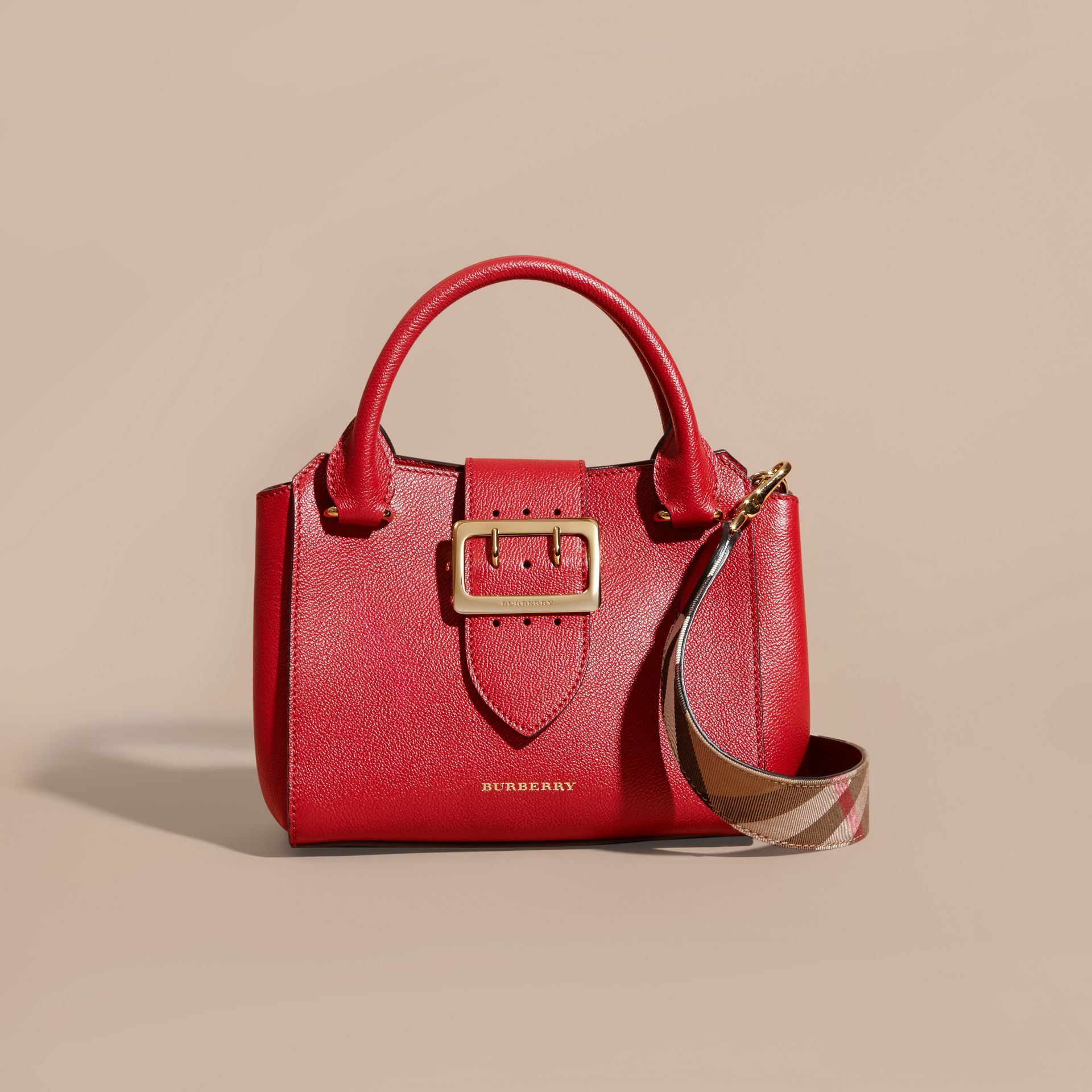 Parade red The Small Buckle Tote in Grainy Leather Parade Red - gallery image 7