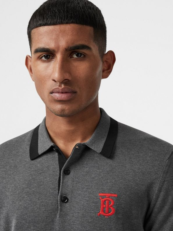 Poloshirt aus Baumwolle mit Streifen und Monogrammmotiv (Dunkelgrau Meliert)