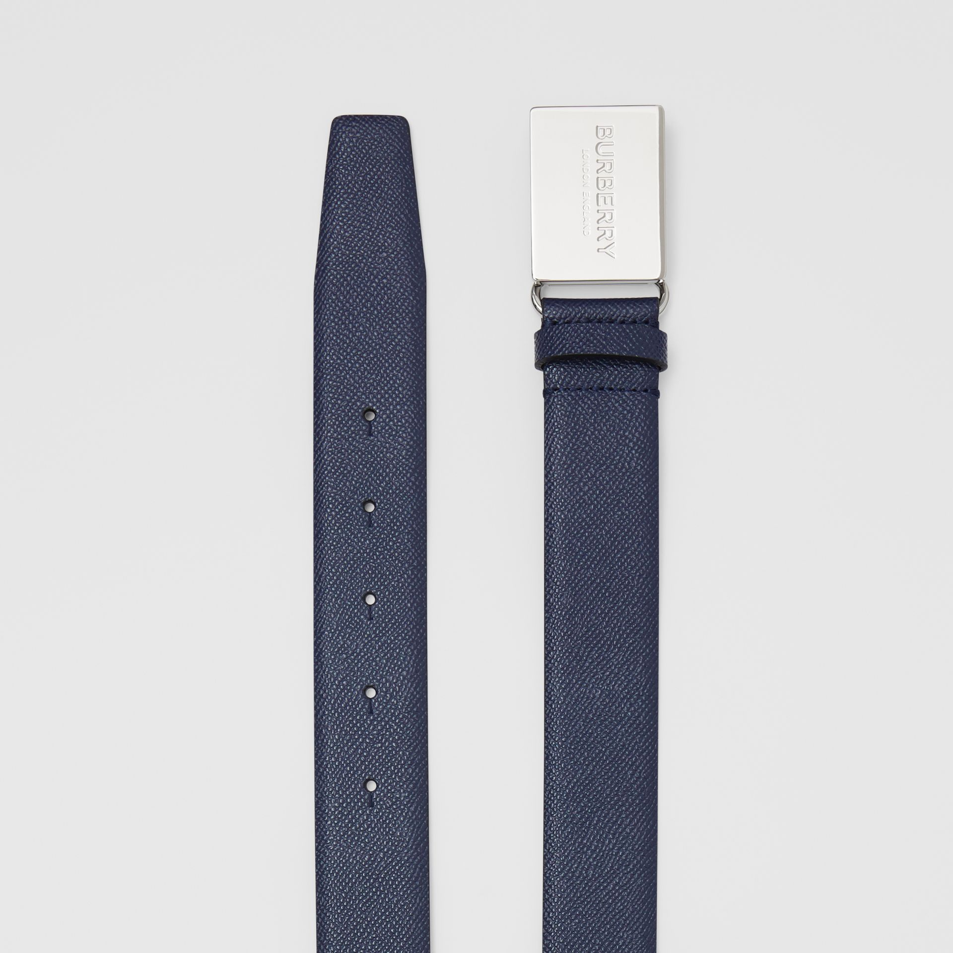 Plaque Buckle Grainy Leather Belt in Navy - Men | Burberry Australia - gallery image 5