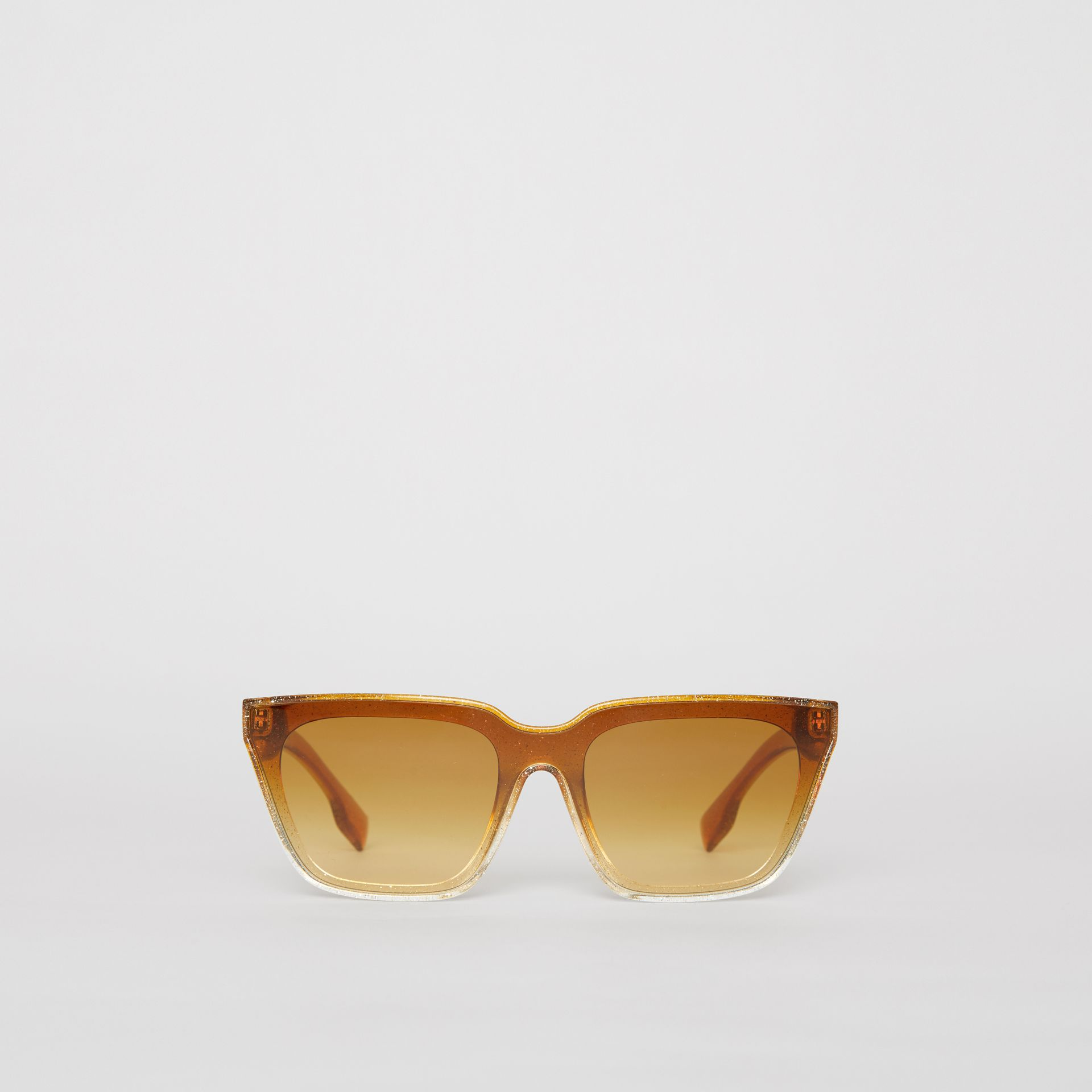 Glitter Detail Square Frame Shield Sunglasses in Yellow - Women | Burberry - gallery image 0