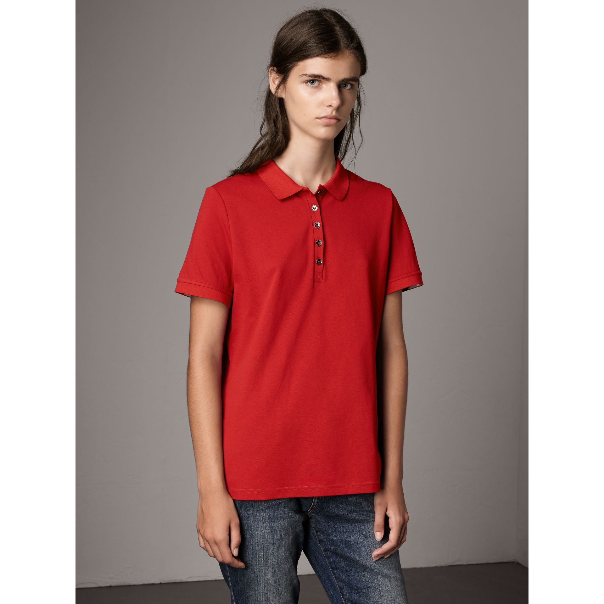 Check Trim Stretch Cotton Piqué Polo Shirt in Military Red - Women | Burberry - gallery image 4