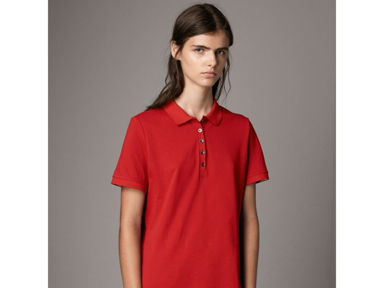Check Trim Stretch Cotton Piqué Polo Shirt in Military Red - Women | Burberry - cell image 4