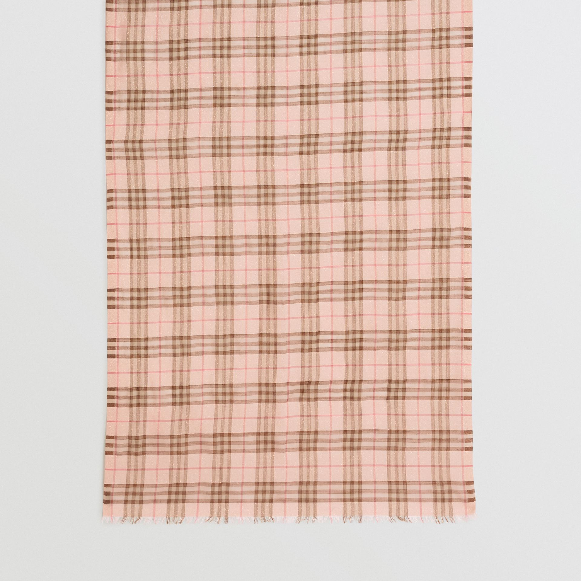 Metallic Check Wool Silk Blend Scarf in Ice Pink - Women | Burberry - gallery image 2