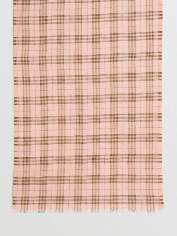 Metallic Check Wool Silk Blend Scarf in Ice Pink - Women | Burberry - cell image 3