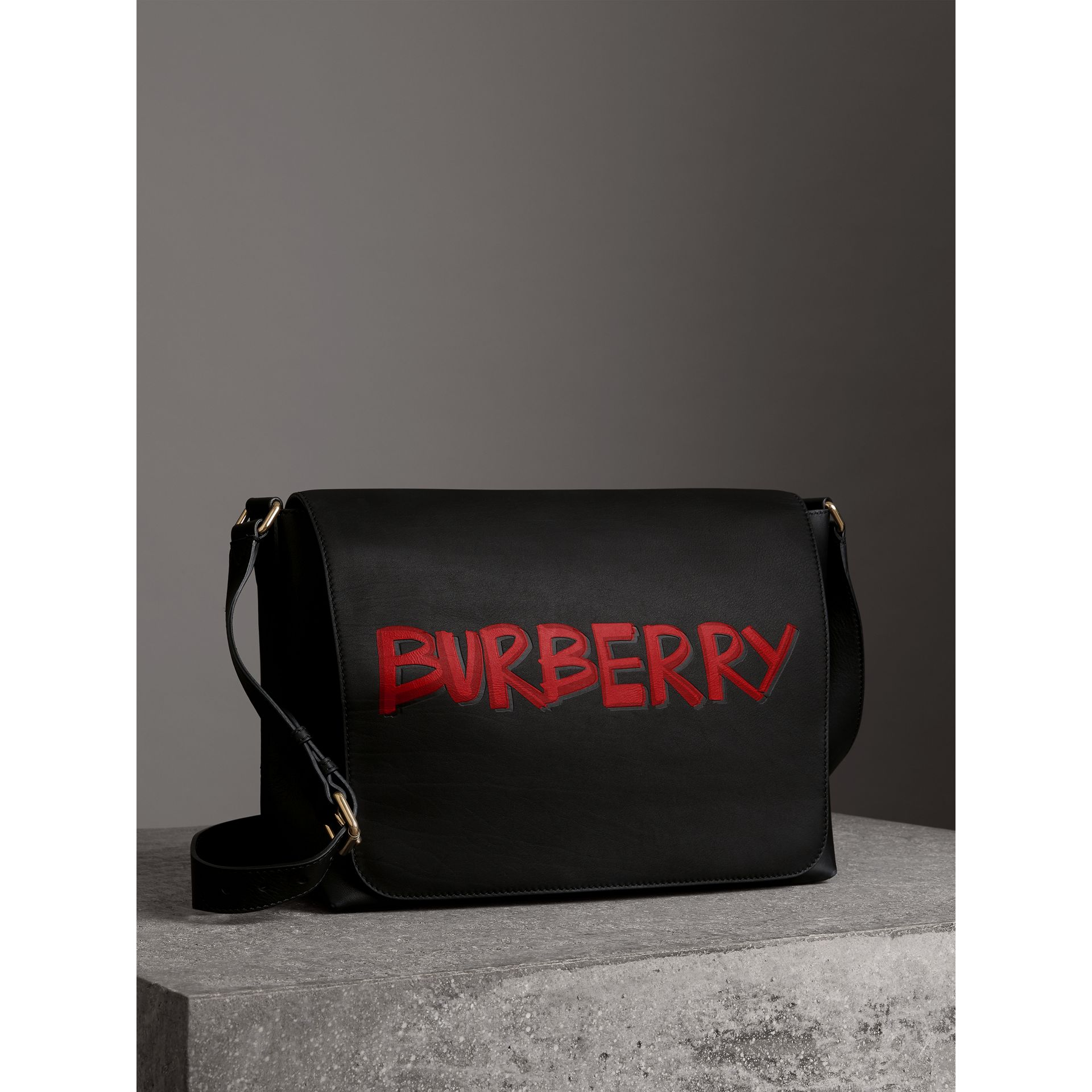 Large Graffiti Print Leather Messenger Bag in Black - Men | Burberry - gallery image 6