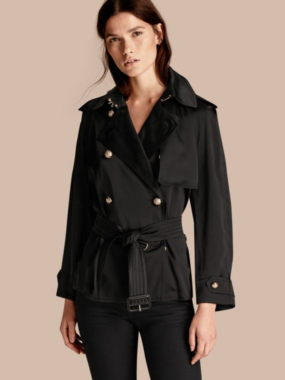 Oversized Regimental Silk Trench Jacket