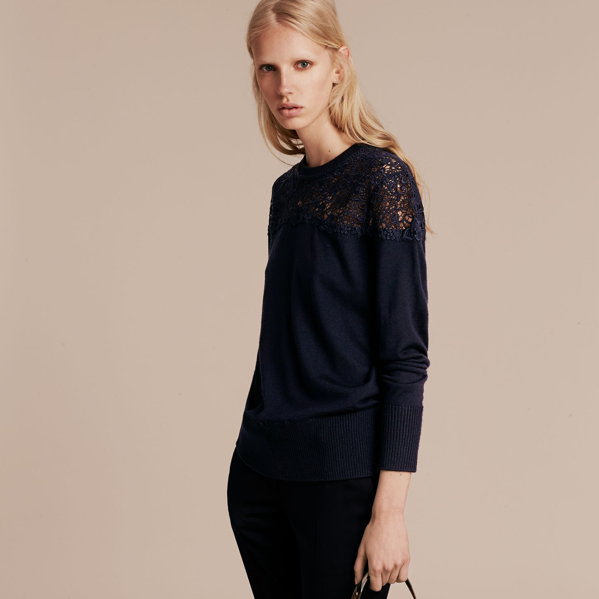 Navy Lace Yoke Merino Wool Sweater Navy - gallery image 6