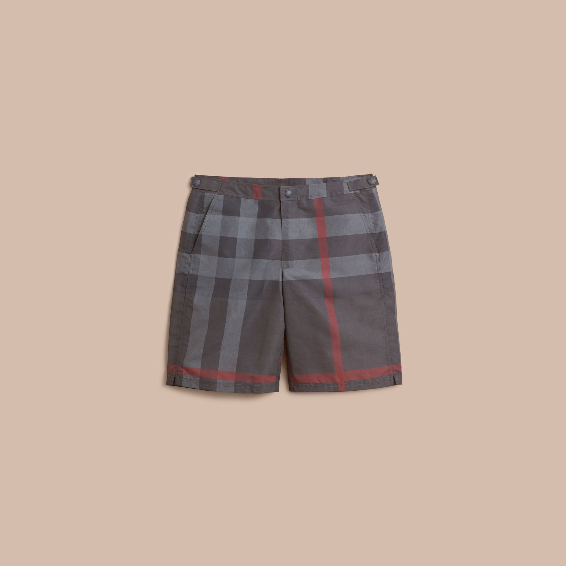 Short de bain technique ajusté à motif check (Anthracite Sombre) - Homme | Burberry - photo de la galerie 1
