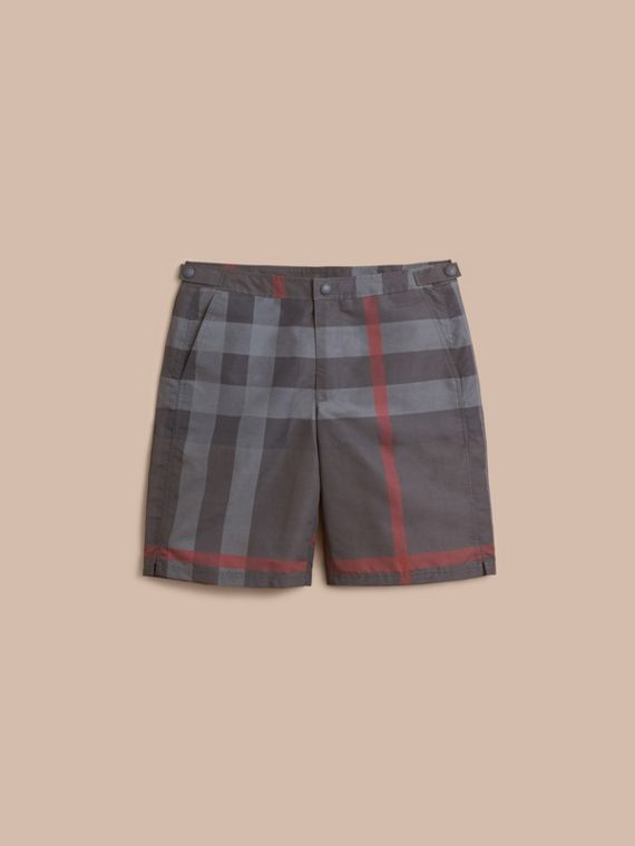 Short de bain technique ajusté à motif check (Anthracite Sombre)