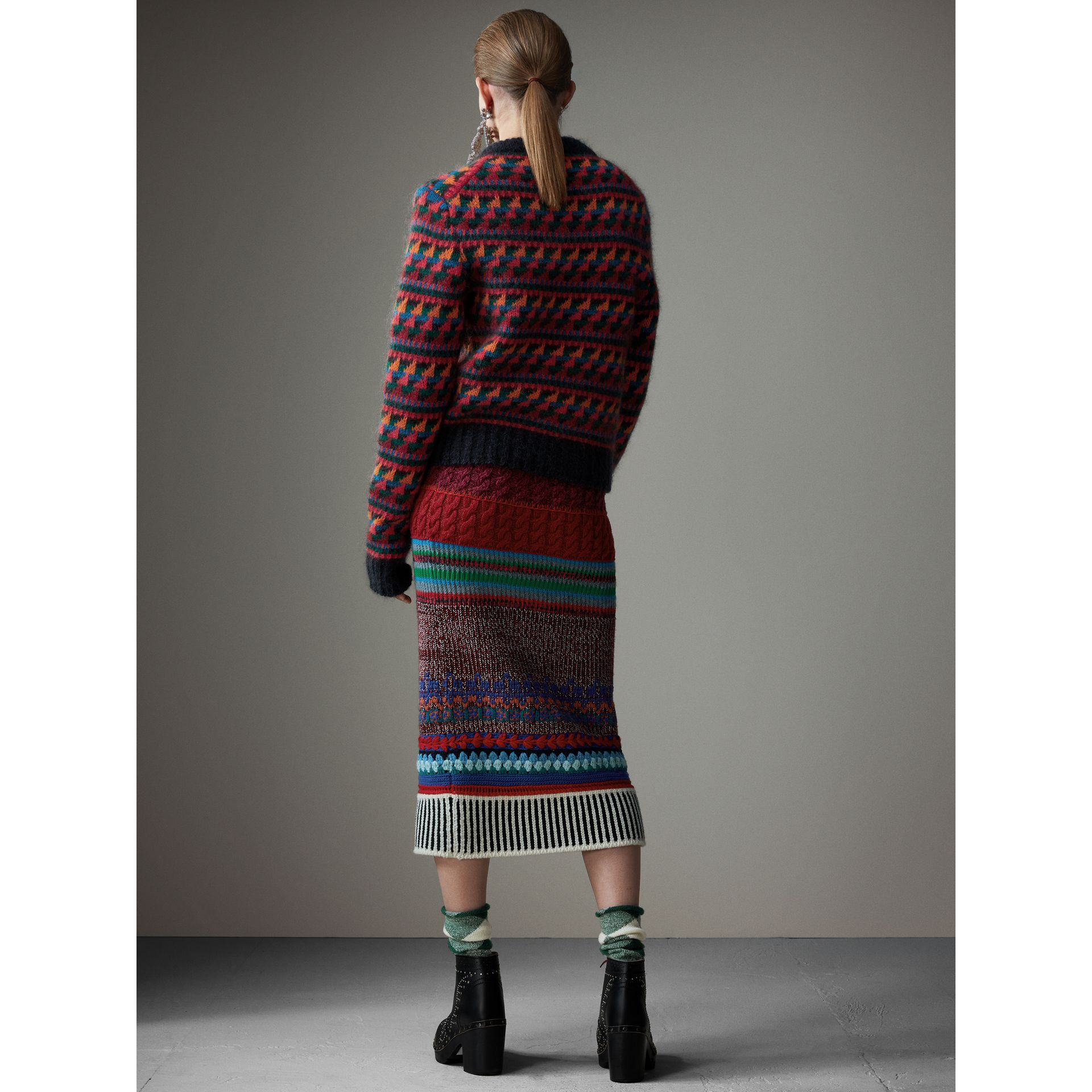Fair Isle Knitted Wool Mohair Blend Sweater in Multicolour - Women | Burberry - gallery image 2