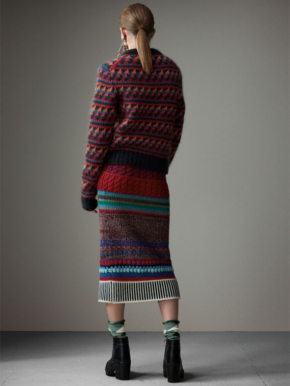 Fair Isle Knitted Wool Mohair Blend Sweater in Multicolour - Women | Burberry Canada - cell image 2