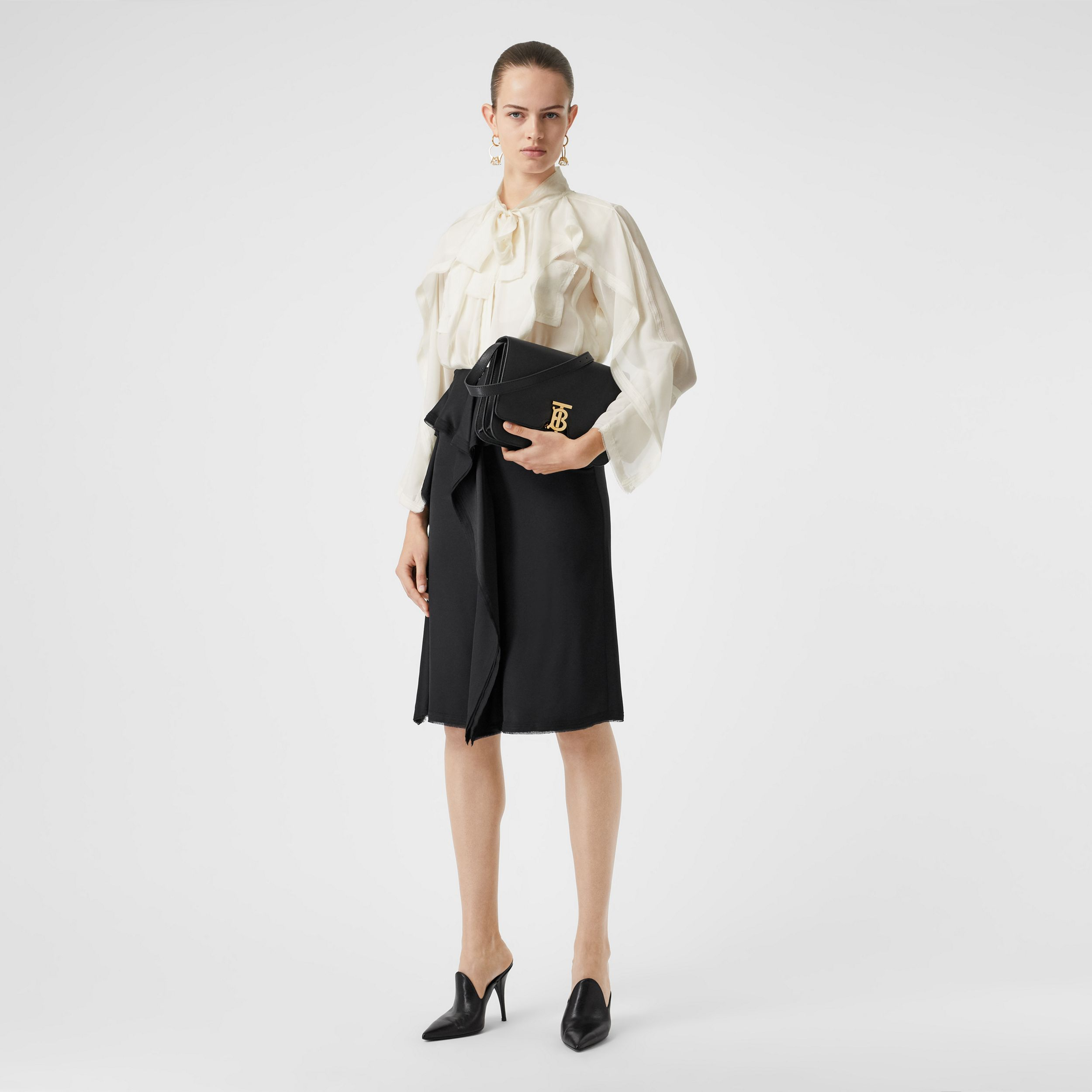 Ruffled Silk Chiffon Pussy-bow Blouse in Ivory - Women | Burberry - 1